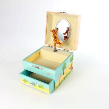 Zenélő kincses ládika fiókkal, ékszerdoboz  Tigris figurával