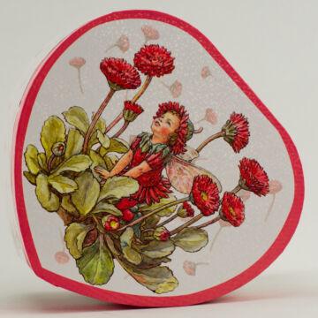 Százszorszép   szív alakú, zenélő  ékszerdoboz virágtündével