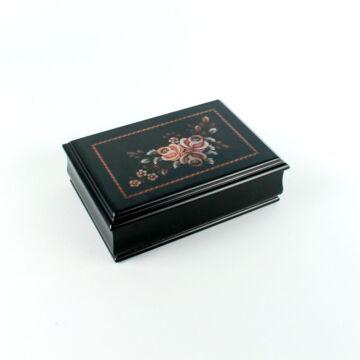 Virág díszítésű fekete zenélő ékszerdoboz fából