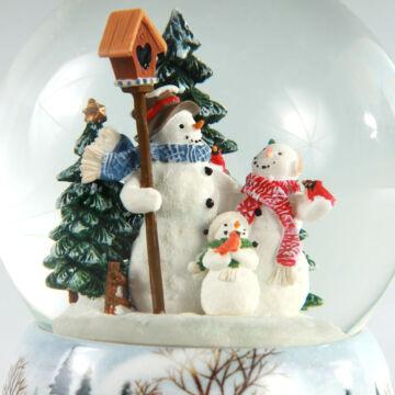 Hóember család  zenélő hógömb