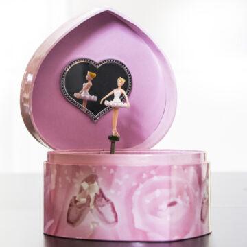 Pink szív - zenélő ékszerdoboz
