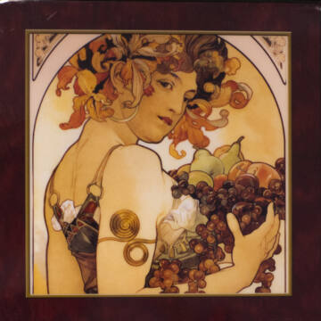 Mucha: Gyümölcsök - Lakkozott, zenélő ékszerdoboz