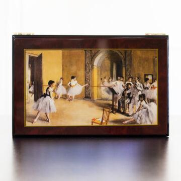 Degas: Balettpróba zenélő ékszerdoboz selyemszoknyás balerinával (Csajkovszkij: Hattyúk tava)