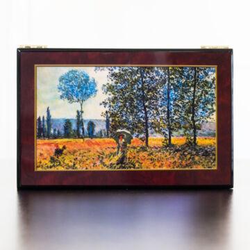 Monet: Tavaszi mező - lakozott ékszerdoboz