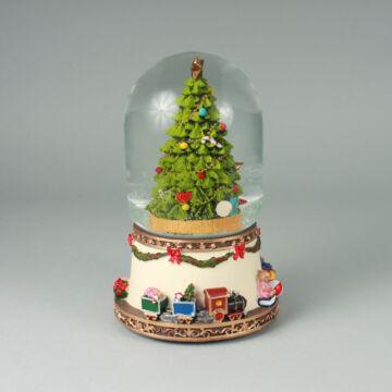 Fenyőfa Üvegbúrában  zenélő karácsonyi ajándéktárgy