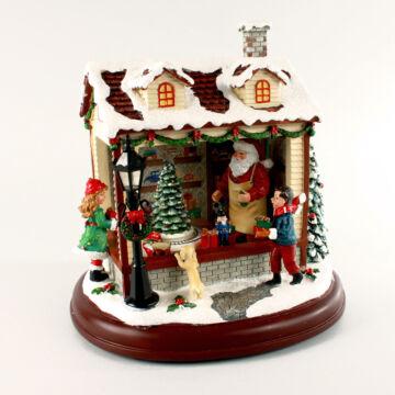 Zenélő játékbolt  havas tetővel - karácsonyi dekor