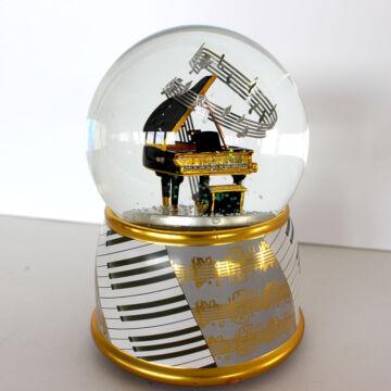 Zongora hógömbben - zenélő ajándéktárgy - leértékelt
