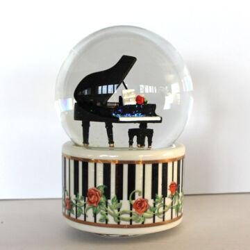 Fekete zongora - vizes gömbben - zenélő ajándéktárgy