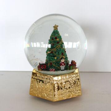 Fenyőfa zenélő hógömbben  hat szögletű arany talppal