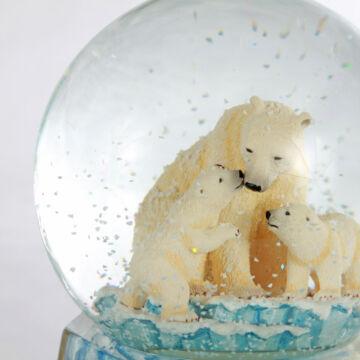 Jegesmedve család  zenélő karácsonyi hógömb