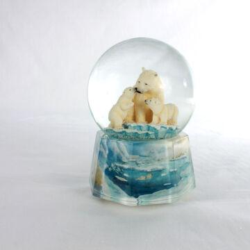 Jegesmedvék  zenélő hógömb , légzárványos