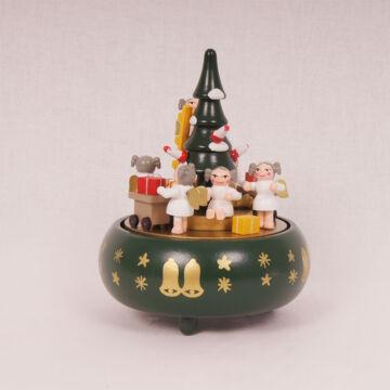 Angyalok fenyőfával  zenélő ajándéktárgy fából