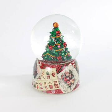 Christmas tree in snow globe on porcellan basic