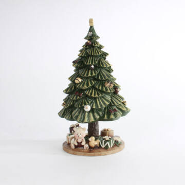 Zenélő forgó kerámia fenyőfa, karácsonyfa ajándékokkal