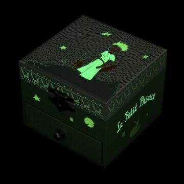 Zöld Kisherceges zenedobozsötétben világít