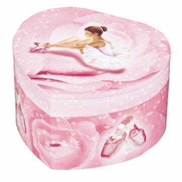 Pink szív balerina zenedobozsötétben világít