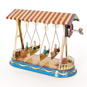 Swing-boat facsimile tin toy