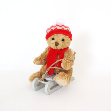 Bear with red hut and sleigh